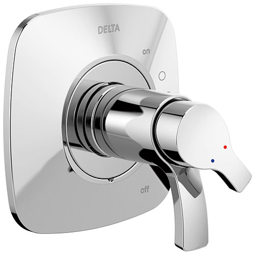 Delta Tesla Collection Chrome Modern TempAssure 17T Dual Thermostatic and Pressure Shower Faucet Control Handle Includes Rough-in Valve without Stops D1952V