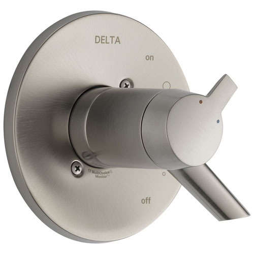 Delta Compel Collection Stainless Steel Finish Thermostatic Dual Temperature and Pressure Control Handle Valve Only Includes Rough Valve without Stops D2267V