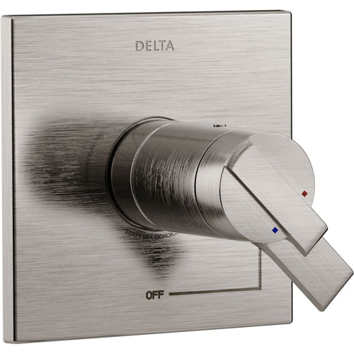 Delta Ara Modern Stainless Steel Finish TempAssure 17T Dual Temperature and Pressure Shower Faucet Control INCLUDES Rough-in Valve D1108V