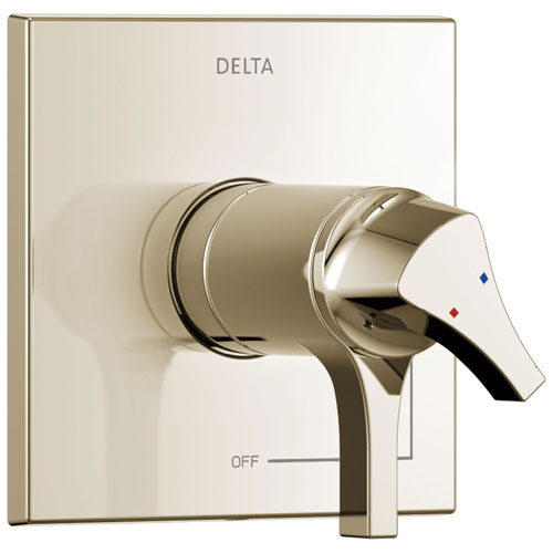 Delta Zura Collection Polished Nickel TempAssure 17T Dual Temperature and Pressure Shower Faucet Control Handle Includes Rough-in Valve with Stops D1945V
