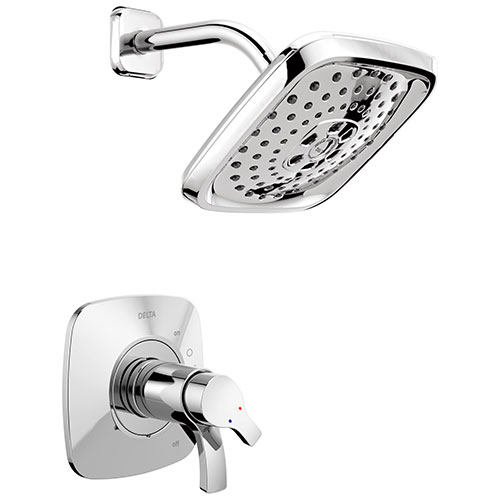 Delta Tesla Collection Chrome TempAssure 17T Series Modern Dual Temp and Pressure Control Shower Faucet Includes Rough-in Valve without Stops D1940V