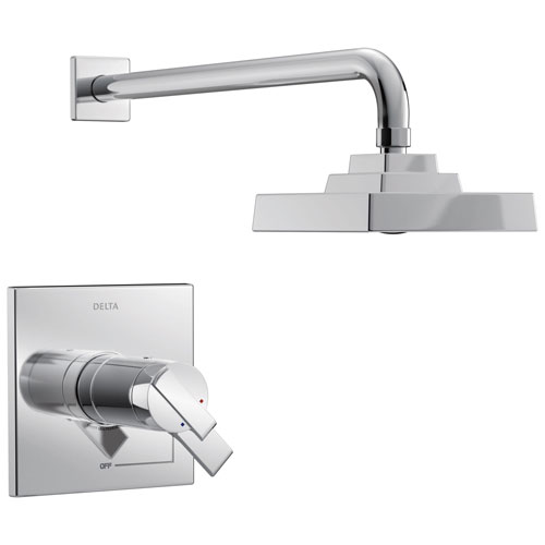 Delta Ara Collection Chrome TempAssure 17T Series Watersense Thermostatic Modern Dual Control Shower only Faucet Includes Valve with Stops D2242V