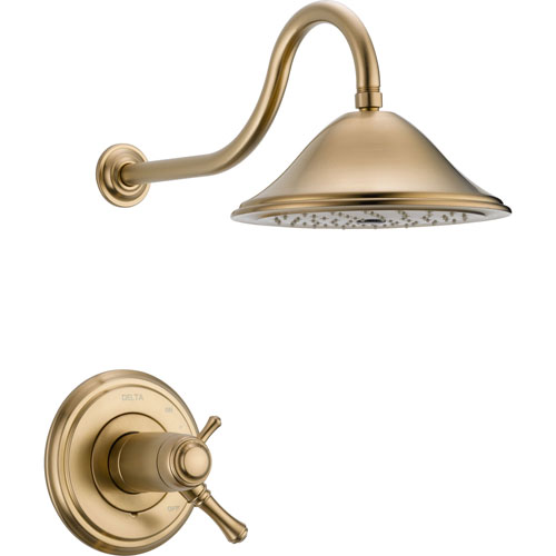 Delta Cassidy Champagne Bronze Dual Thermostatic Shower Faucet with Valve D823V