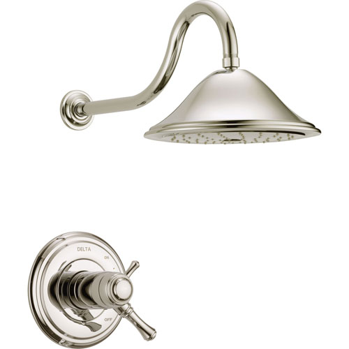 Delta Cassidy Polished Nickel Thermostatic Large Shower Faucet with Valve D824V