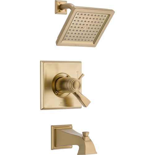 Delta Dryden Thermostatic Control Champagne Bronze Tub & Shower with Valve D497V