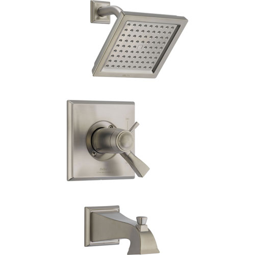 Delta Dryden Thermostatic Stainless Steel Finish Tub and Shower with Valve D499V