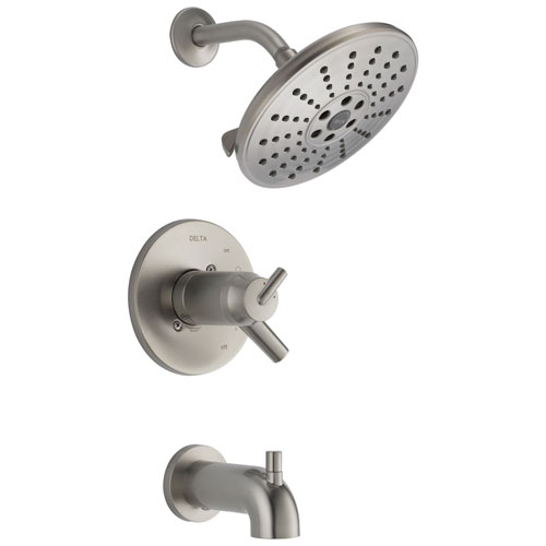Delta Trinsic Collection Stainless Steel Finish TempAssure 17T Watersense Thermostatic Tub and Shower Combo Faucet Includes Valve with Stops D2230V