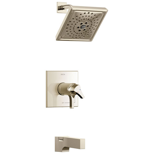 Delta Zura Collection Polished Nickel Modern Thermostatic TempAssure 17T Series Tub and Shower Combination Faucet Includes Valve with Stops D2222V