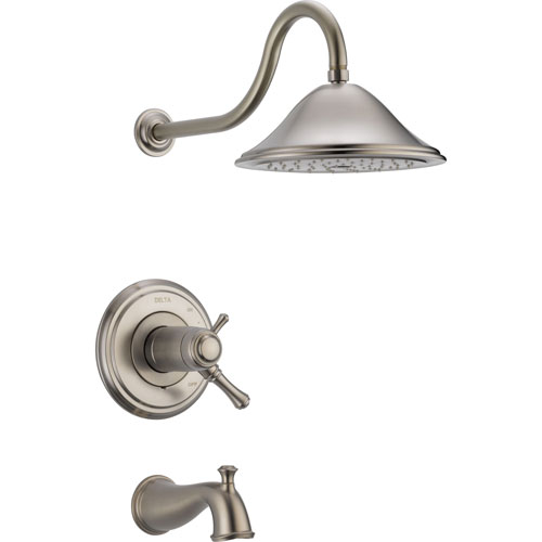 Delta Cassidy Stainless Steel Finish Thermostatic Large Tub/Shower w/Valve D520V