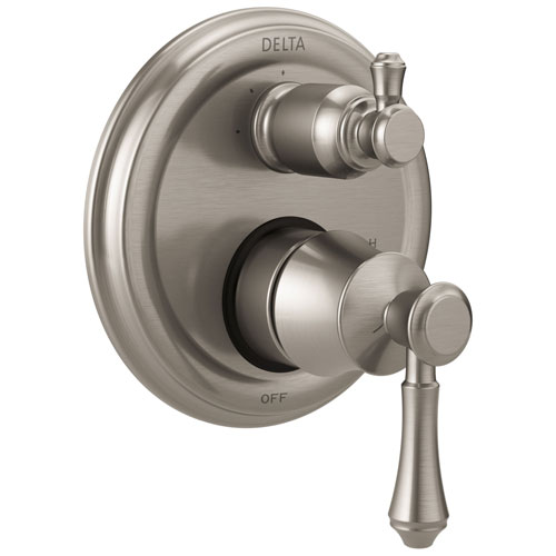 delta cassidy stainless steel finish shower faucet valve trim control handle with 3setting integrated