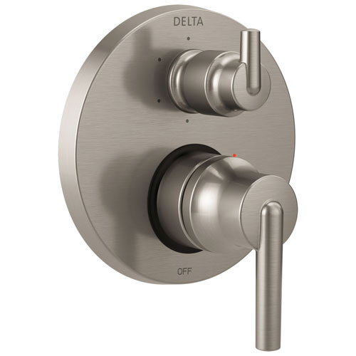 Delta Trinsic Collection Stainless Steel Finish Shower Faucet Control Handle with 6-Setting Integrated Diverter Includes Trim Kit and Valve without Stops D2196V