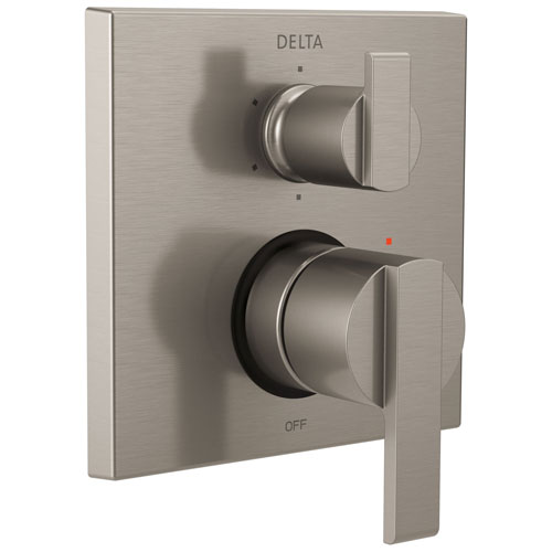 Delta Ara Stainless Steel Finish Modern Shower Faucet Control Handle with 6-Setting Integrated Diverter Includes Trim Kit and Rough-in Valve with Stops D2191V