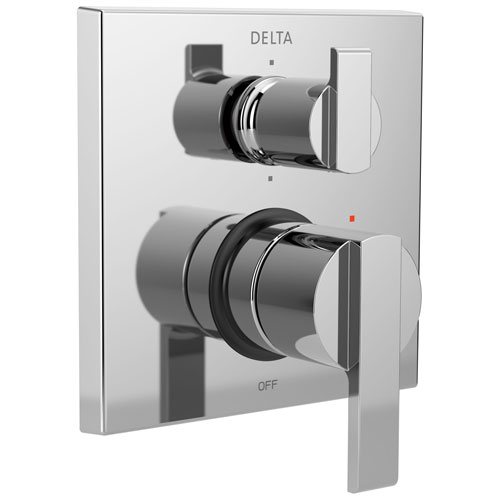 Delta Ara Chrome Angular Modern Monitor 14 Shower Faucet Control Handle with 6-Setting Integrated Diverter Includes Trim Kit and Valve with Stops D2195V