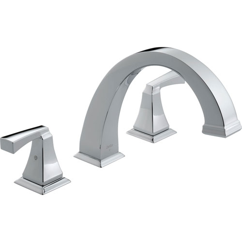 Delta Dryden Modern Chrome 2-Handle Roman Tub Filler Faucet Trim Kit 457109