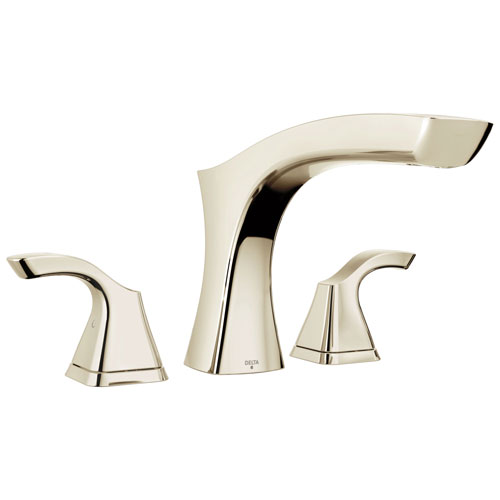 Delta Tesla Collection Polished Nickel Finish Modern Widespread Roman Tub Filler Faucet Includes Trim Kit and Rough-in Valve D1918V
