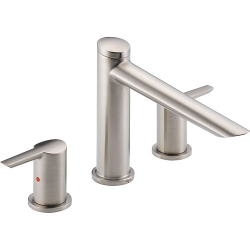 Delta Compel Stainless Steel Finish Roman Tub Filler Faucet with Valve D913V
