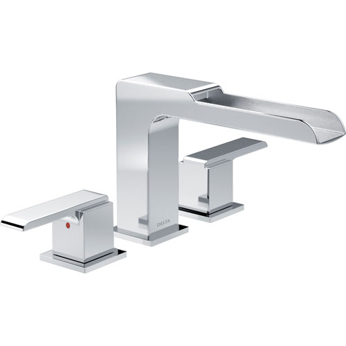 Delta Ara Modern Chrome Roman Tub Filler Faucet with Channel Spout INCLUDES Valve and Lever Handles D1089V