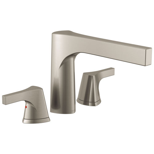 Delta Zura Collection Modern Stainless Steel Finish 3-Hole Roman Tub Filler Faucet Includes Trim Kit and Rough-in Valve D1913V