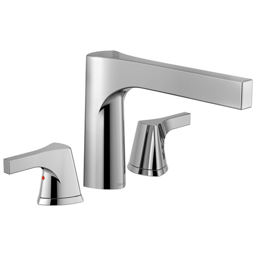 Delta Zura Collection Modern Chrome Finish 3-Hole Roman Tub Filler Faucet Includes Trim Kit and Rough-in Valve D1915V