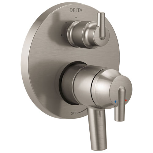 Delta Trinsic Collection Stainless Steel Finish Shower Faucet Control Handle with 3-Setting Integrated Diverter Includes Trim Kit and Valve without Stops D2175V
