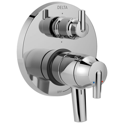 Delta Trinsic Chrome Contemporary Monitor 17 Shower Faucet Control Handle with 6-Setting Integrated Diverter Includes Trim Kit and Valve with Stops D2159V