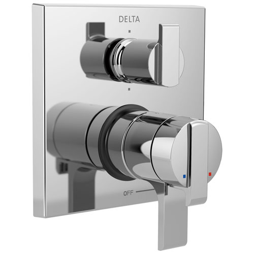 Delta Ara Collection Chrome Angular Modern Monitor 17 Shower Faucet Control Handle with 6-Setting Integrated Diverter Trim (Requires Valve) DT27967