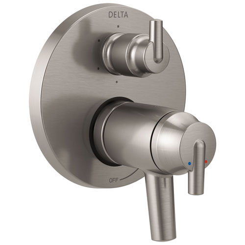 Delta Trinsic Stainless Steel Finish Thermostatic Shower Faucet Control with 6-Setting Integrated Diverter Includes Trim Kit and Valve without Stops D2118V