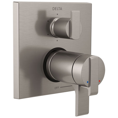 Delta Ara Collection Stainless Steel Finish Thermostatic Shower Faucet Control with 6-Setting Integrated Diverter Includes Trim Kit and Valve without Stops D2112V