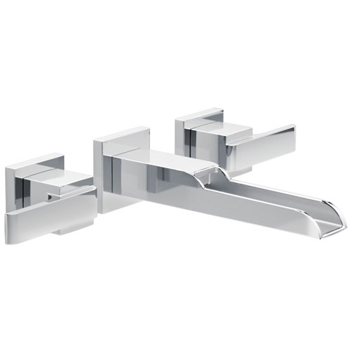 Delta Ara Collection Chrome Two Handle Modern Wall Mount Bathroom Lavatory Sink Faucet with Channel Spout Includes Rough-in Valve D2089V