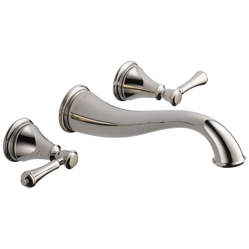 Delta Cassidy Collection Polished Nickel Traditional Style Two Handle Wall Mount Bathroom Sink Faucet Includes Trim Kit and Rough-in Valve D2083V
