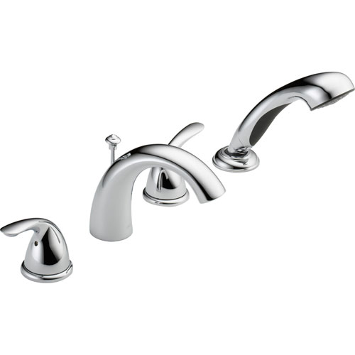 Delta Classic Ledge-Mount Chrome Roman Tub Faucet with Hand Shower Trim 586333