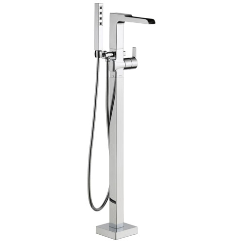 Delta Ara Collection Chrome Floor Mount Freestanding Channel Spout Tub Filler Faucet with Hand Shower Includes Trim Kit and Rough-in Valve D2071V