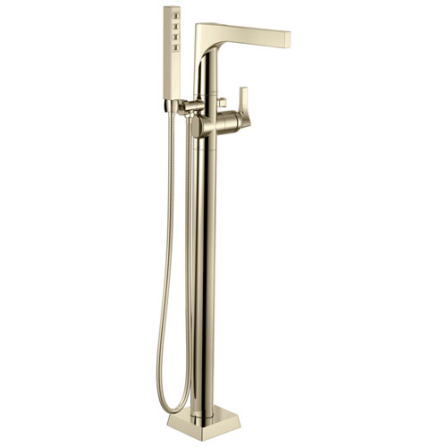 Delta Zura Collection Polished Nickel Modern Floor Mount Freestanding Tub Filler Faucet with Hand Shower Includes Trim Kit and Rough-in Valve D2067V