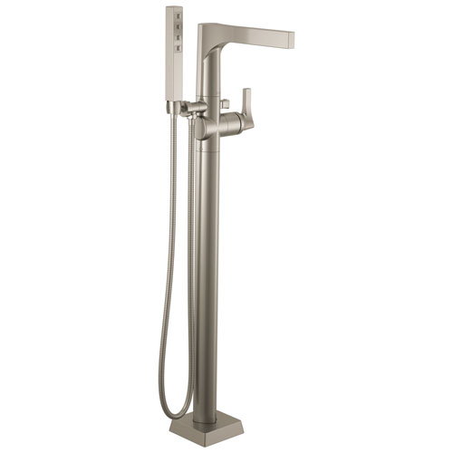 Delta Zura Collection Stainless Steel Finish Modern Floor Mount Freestanding Tub Filler Faucet with Hand Shower Includes Trim Kit and Rough-in Valve D2066V