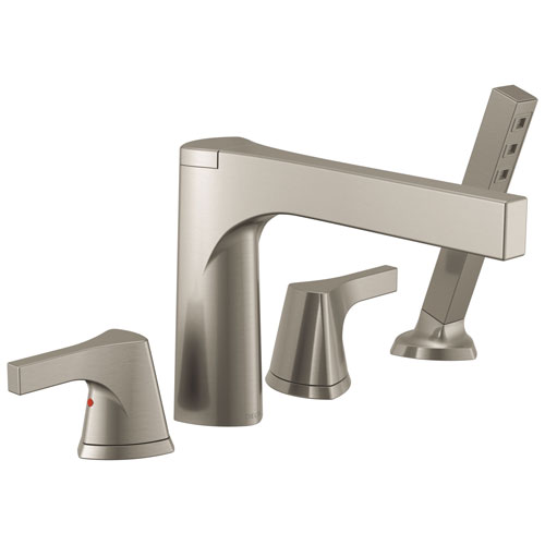 Delta Zura Collection Stainless Steel Finish 4-Hole Roman Tub Filler Faucet with Hand Shower Includes Rough-in Valve D1904V