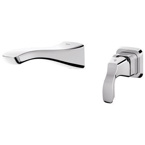 Delta Tesla Collection Chrome Finish Single Handle Modern Wall Mount Lavatory Bathroom Faucet INCLUDES Rough-in Valve D1901V