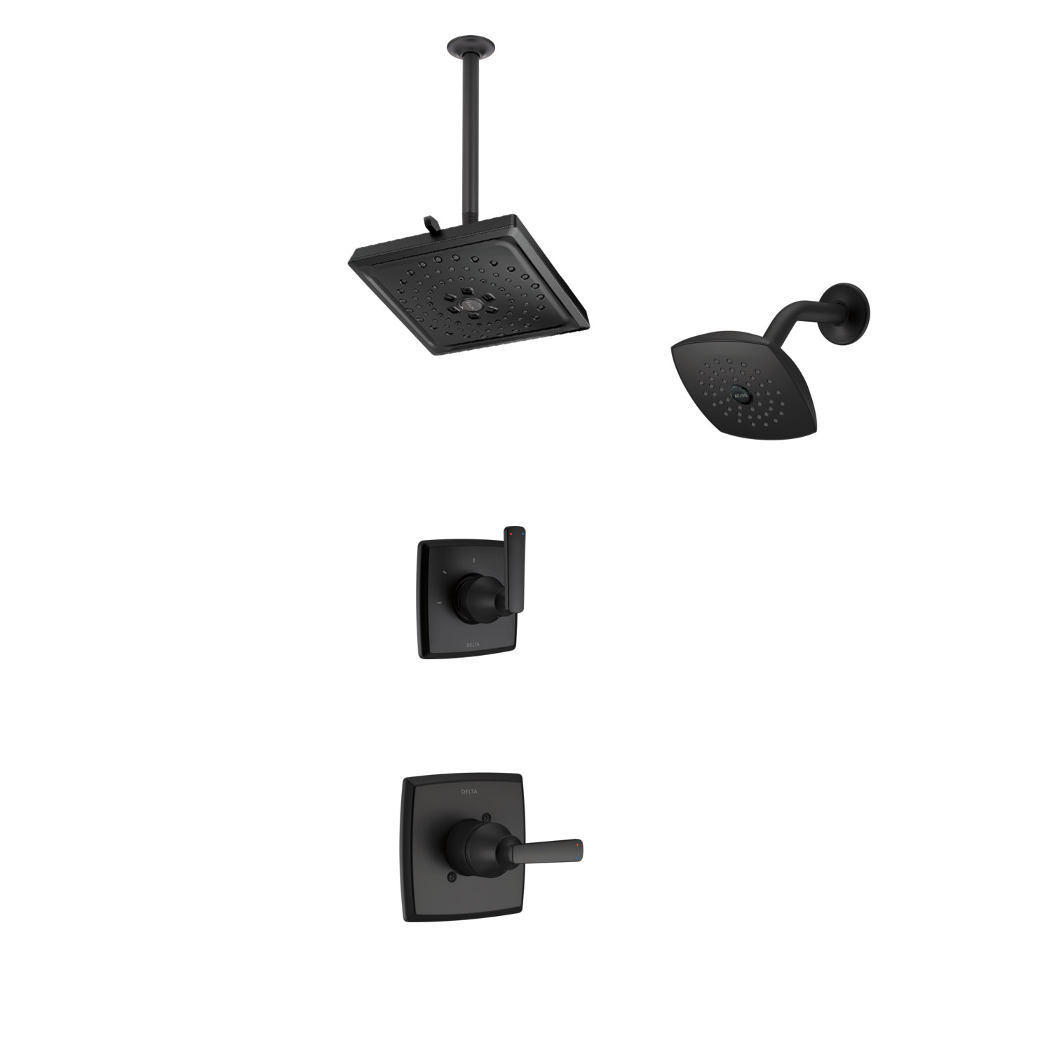 Delta Ashlyn Matte Black Finish Shower System with Control Handle, 3-Setting Diverter, Showerhead, and Ceiling Mount Showerhead CUSTOM723V