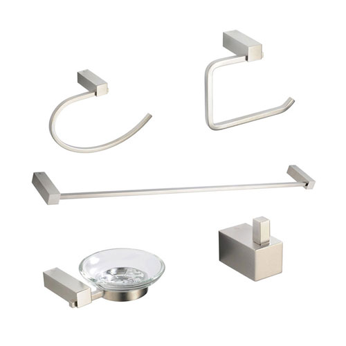 Fresca Ottimo Bathroom Accessories 5-Piece Bathroom Accessory Set Brushed Nickel