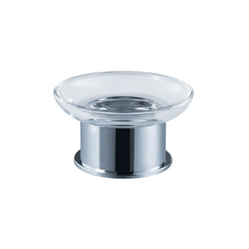 Fresca Glorioso Chrome Round Base Free Standing Clear Soap Dish