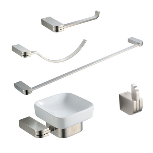 Fresca Solido Bathroom Accessories 5-Piece Bathroom Accessory Set Brushed Nickel