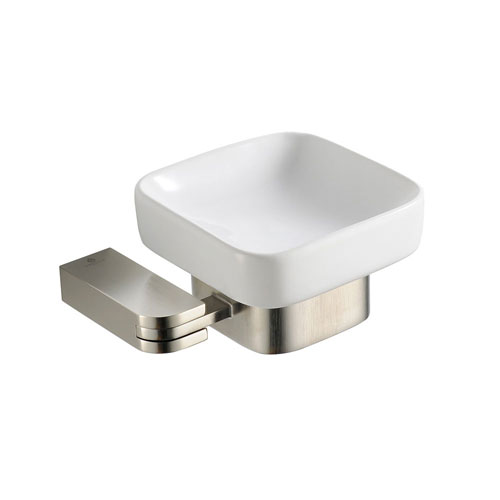 fresca solido modern square brushed nickel bathroom accessory soap