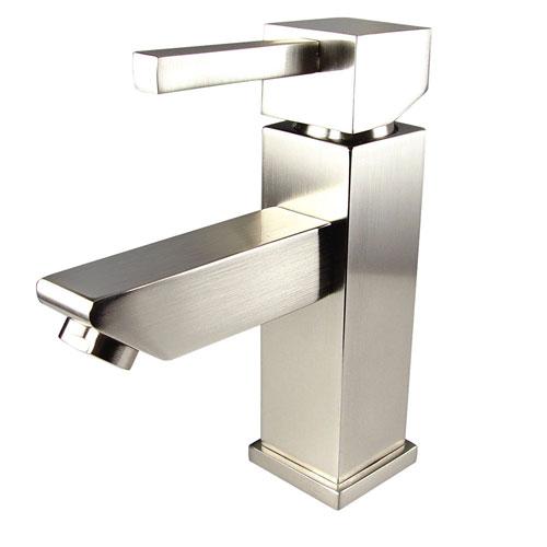 Fresca Versa Single Hole Mount Square Modern Bathroom Faucet Brushed Nickel