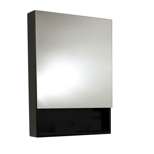 Fresca Small Espresso Mirrored Bathroom Medicine Cabinet with Small Bottom Shelf