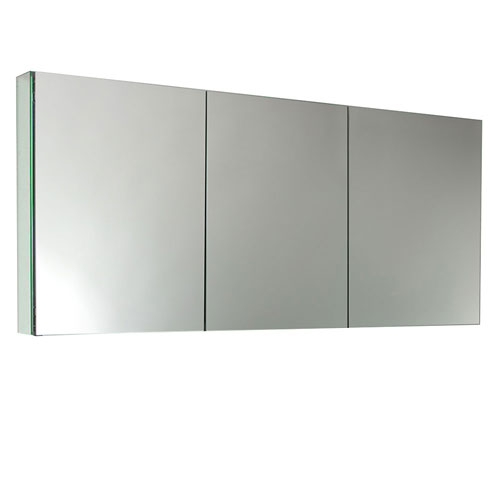 Fresca 60 Wide Mirrored Bathroom Medicine Cabinet 3 Door With Inner