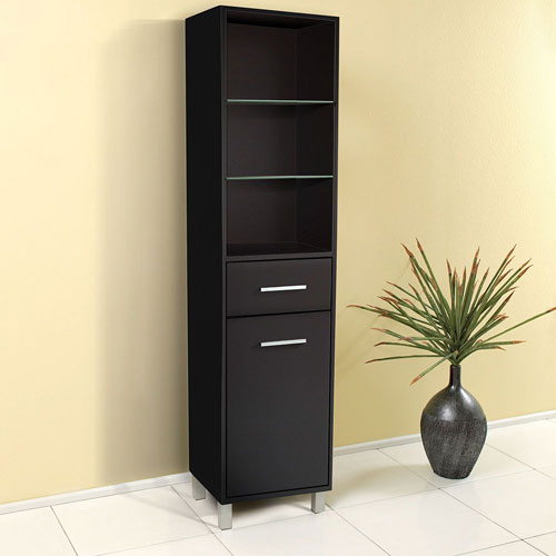 Peachy Fresca Espresso Tall Bathroom Storage Cabinet With 3 Drawers And 3 Open Shelves Interior Design Ideas Clesiryabchikinfo