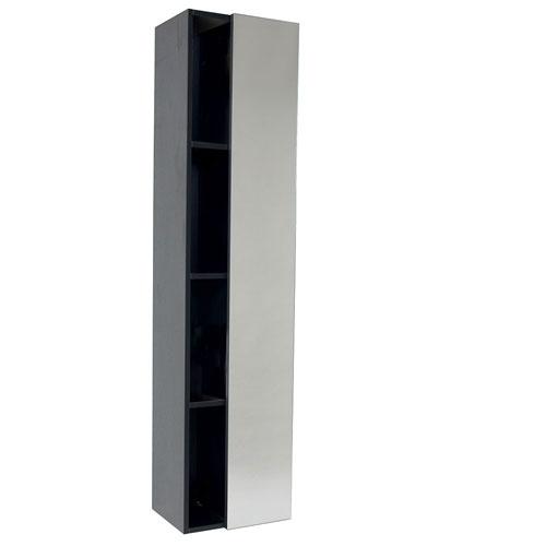 Fresca Black Bathroom Storage Side Cabinet with 4 Cubby Holes & Mirror Door