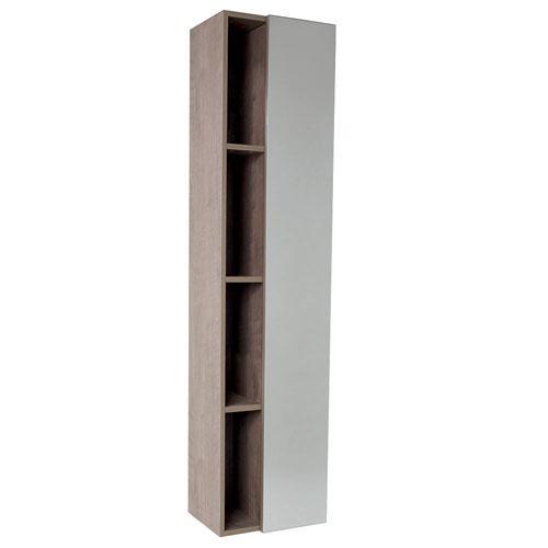 Fresca Gray Oak Bathroom Storage Side Cabinet with 4 Cubby Holes & Mirror Door