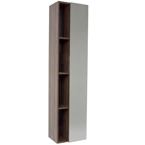 Fresca Walnut Bathroom Storage Side Cabinet With 4 Cubby Holes Mirro
