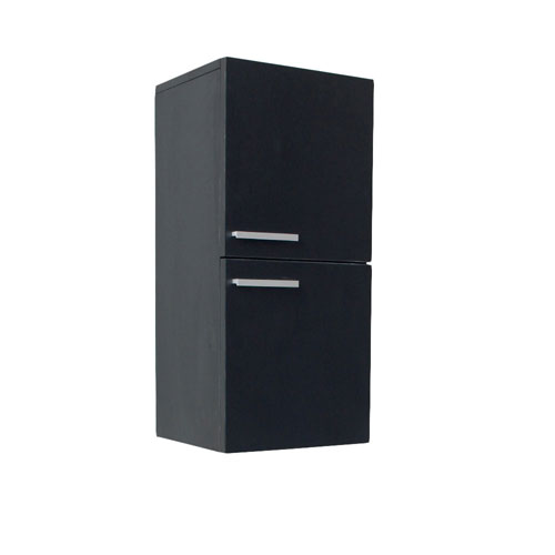 Fresca Black Bathroom Linen Side Cabinet with 2 Storage Areas