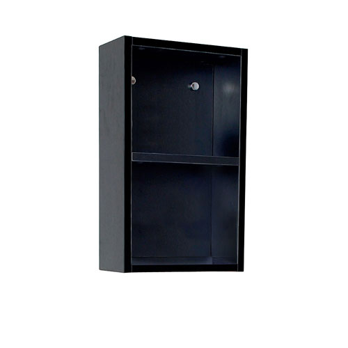 Fresca Black Wall Mounted Bathroom Linen Side Cabinet with 2 Open Storage Areas